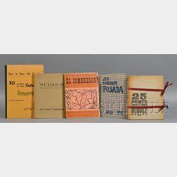 Lot of Five Latin American Art Books:      Leopoldo Mendez, Bajo la linea del Ecuador: 30 Grabados de Galo Galecio