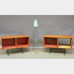 """Mid-century Modern Tripod """"Grasshopper"""" Floor Lamp and Two Cabinets on Metal Stands"""