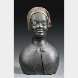 Carved and Painted Bust of a Black Woman Wearing a Liberty Cap