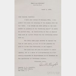 Wright, Orville (1871-1948) Typed Letter Signed, 1 March 1928.