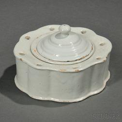 Dutch Delft White Glazed Inkstand