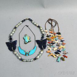 Four Southwestern Hardstone Jewelry Items