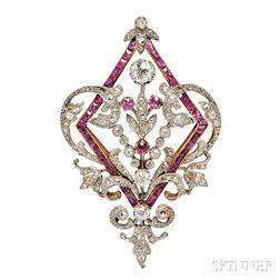 Edwardian Ruby and Diamond Pendant/Brooch
