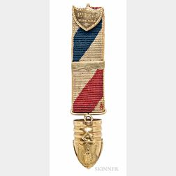 Gold Massachusetts Hanging Ball Badge Named to Lieutenant George L. Lawrence, 1st Massachusetts Volunteer Infantry