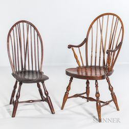 Two Braced Bow-back Windsor Chairs