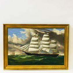 Framed Earle Barlow Oil on Canvas Ship's Portrait After Duncan McFarlane