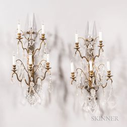 Pair of Continental Gilt-brass and Crystal Five-light Wall Sconces