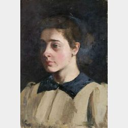 Marcia Oakes Woodbury (American, 1865-1913)  Portrait of a Young Woman