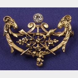 Antique 18kt Gold and Diamond Pin