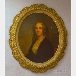 Framed Oil on Canvas Portrait of a Woman Purported to be Catherine Dumesnil McIlvaine, Attributed to George Aug...