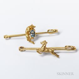 Two Low-karat Gold Figural Bar Brooches
