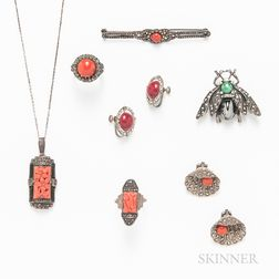 Group of Marcasite and Coral Jewelry
