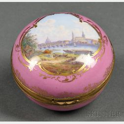Meissen Porcelain and Gilt-metal-mounted Trinket Box with View of Dresden