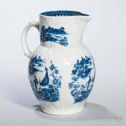 Molded and Transfer-decorated Blue and White Porcelain Cabbage Leaf Jug