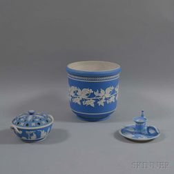 Four Light Blue Jasperware Items
