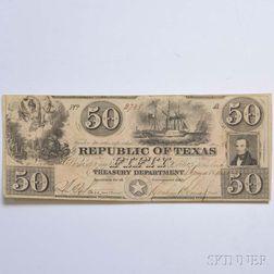 Republic of Texas $50 Note.     Estimate $200-400