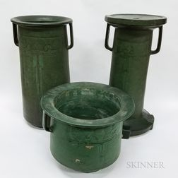 Arts and Crafts Matte Green Glazed Pottery Jardiniere, Vase, and Pedestal
