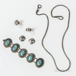 Six Pieces of Navajo Silver and Turquoise Jewelry