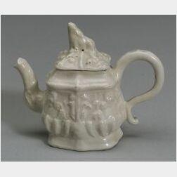 """Miniature Staffordshire White Salt Glazed Stoneware """"Grand Tartar"""" Teapot"""