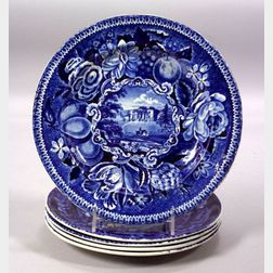 Five Blue Transfer Decorated Staffordshire Pottery Plates