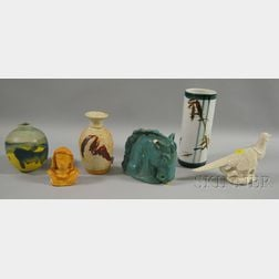 Six Pieces of Assorted Modern Art Pottery