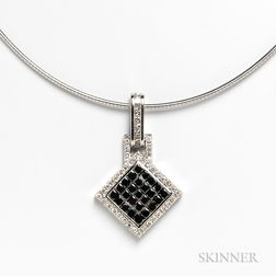 14kt White Gold, Diamond, and Black Diamond Pendant with 14kt White Gold Necklace