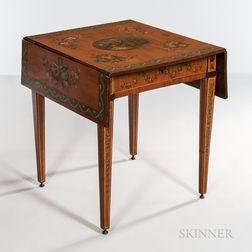 Edwardian Polychrome Painted Satinwood Drop-leaf Table