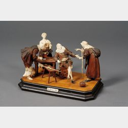 "German Carved Fruitwood and Ivory Figure Group ,""The Fortune Teller"""
