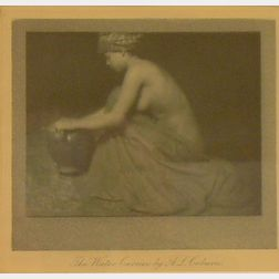 Framed Alvin Langdon Coburn (American/British, 1882-1966) Photogravure      of a Woman Kneeling with an Urn, The Water Carrier