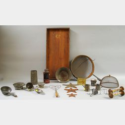 Twenty-one Tin and Wooden Kitchen and Domestic Items