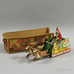 """Strauss Tin Lithographed Wind-up """"Santee Claus"""" Toy"""