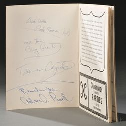 Celebrity Signatures of Paul Newman (1925-2008), Cary Grant (1904-1986), Truman Capote (1924-1984), and Adam Clayton Powell Jr. (1908-1