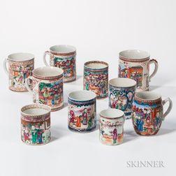 Ten Export Porcelain Canns