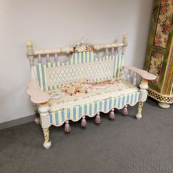 MacKenzie-Childs Paint-decorated Tasseled Bench