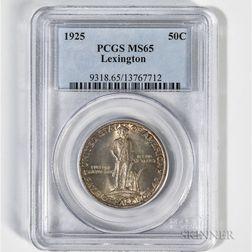 1925 Lexington Commemorative Half Dollar, PCGS MS65.     Estimate $150-200