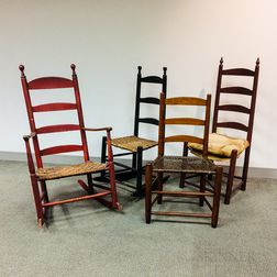 Four Country Slat-back Chairs.