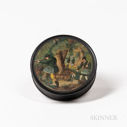 Circular Papier-mache Hunt-decorated Snuff Box