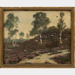 William Harrison Varnum (American, 1878-1946)      Summer Landscape with Birches.