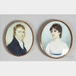 Attributed to Edward Greene Malbone (American 1777-1807) Pair of Portrait Miniatures of Siblings Henry Hub...