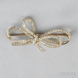 Edwardian Diamond Bow Brooch, Retailed by James Robinson