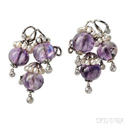 Pair of 14kt Gold, Amethyst, Freshwater Pearl, and Diamond Brooches, Seaman Schepps