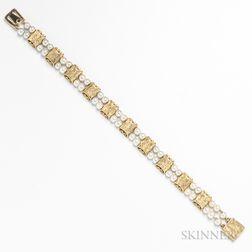 Lucien Piccard 14kt Gold and Pearl Bracelet