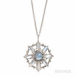 Platinum, Moonstone, and Diamond Pendant