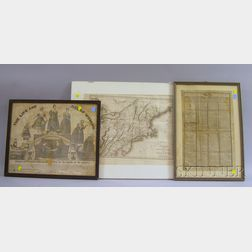 Five Framed 19th Century Prints and New England Maps
