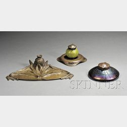 R. Taupin d'Auge Art Nouveau Inkstand; and Two Inkwells