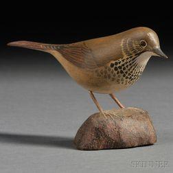 Jess Blackstone Miniature Carved and Painted Hermit Thrush Figure