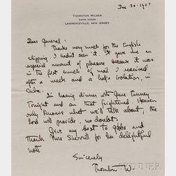 Wilder, Thornton (1897-1975) Autograph Letter Signed, 30 December 1927.