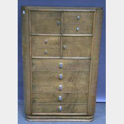 Art Moderne Tiger Maple Eleven-drawer Wardrobe Chest