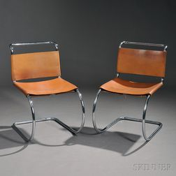Two Mies van der Rohe Barcelona Side Chairs