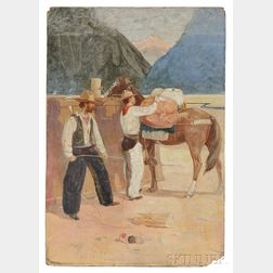 Attributed to Gerald Ira Diamond Cassidy (American, 1869-1934)    Cowboys Loading Their Gear